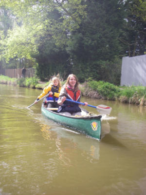 Britta and Sarah Canoeing