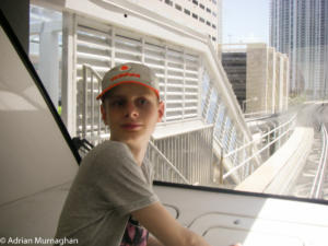 Matthew on the Miami metro mover